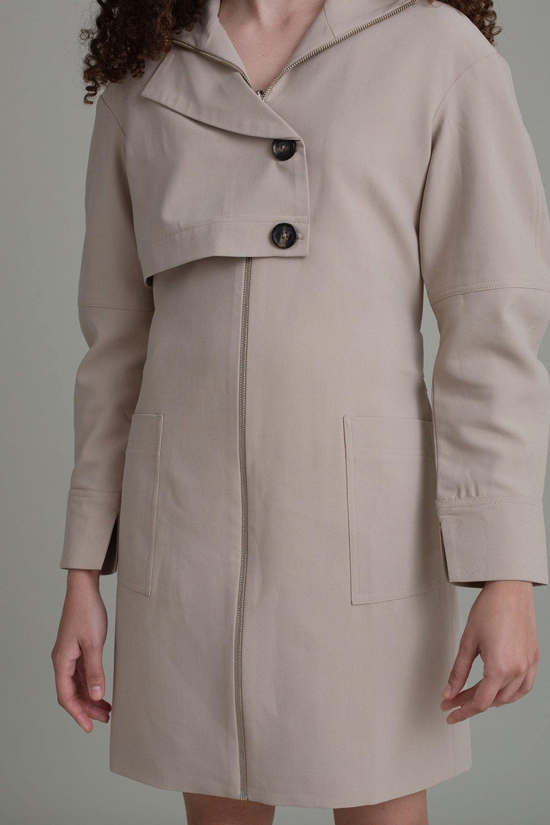 TAN OVERSIZED SLEEVE TRENCH