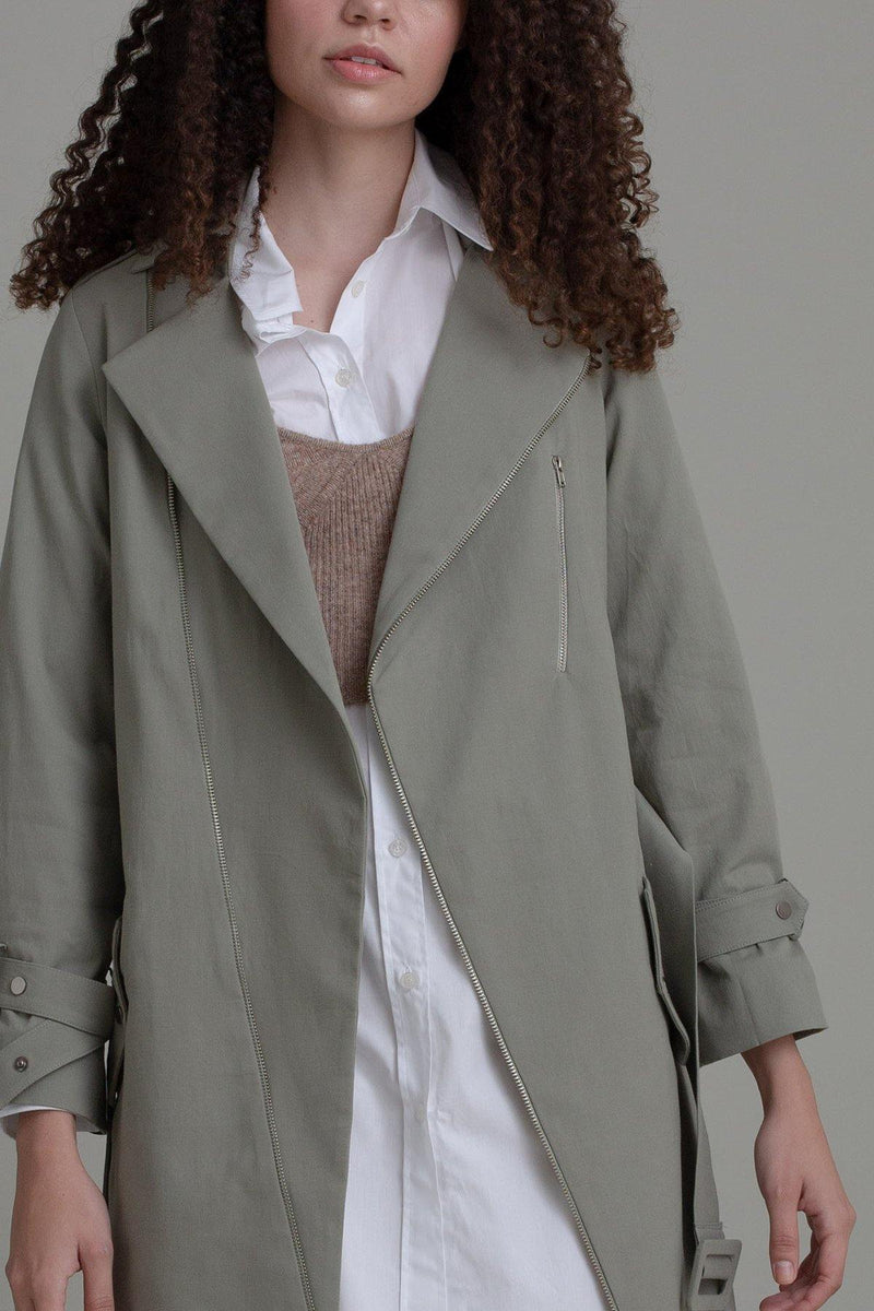 SAGE ZIPPED TRENCH COAT