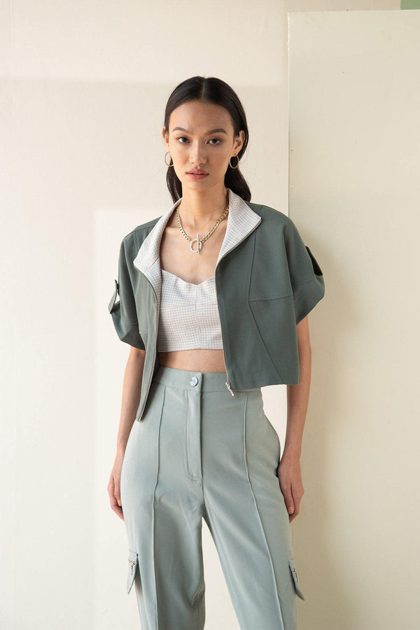 SAGE COLORBLOCK CROP  OVERSHIRT