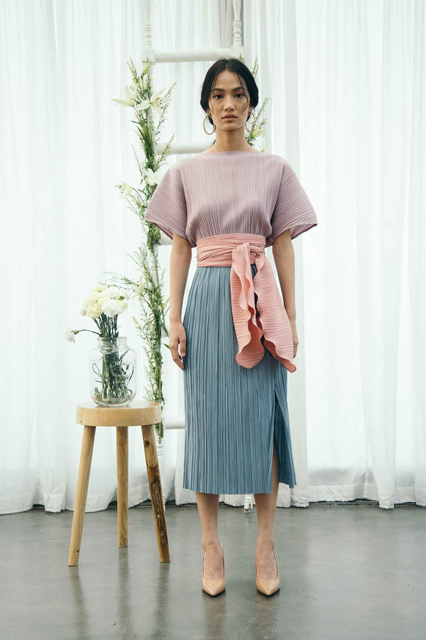 Pink Blue Pleated Dress
