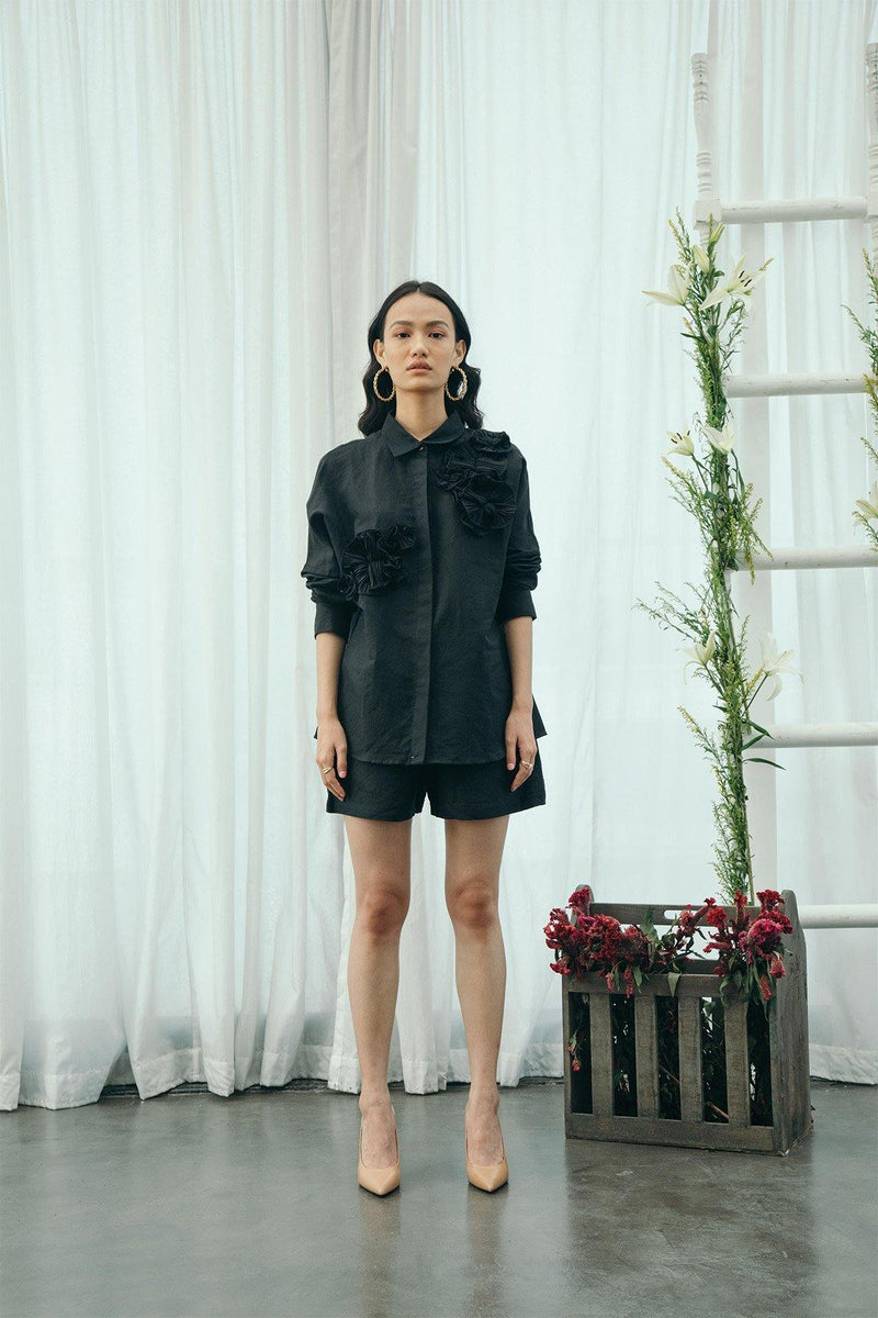 Black Flower Shirt & Shorts Set