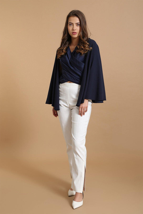 Navy Cape Top