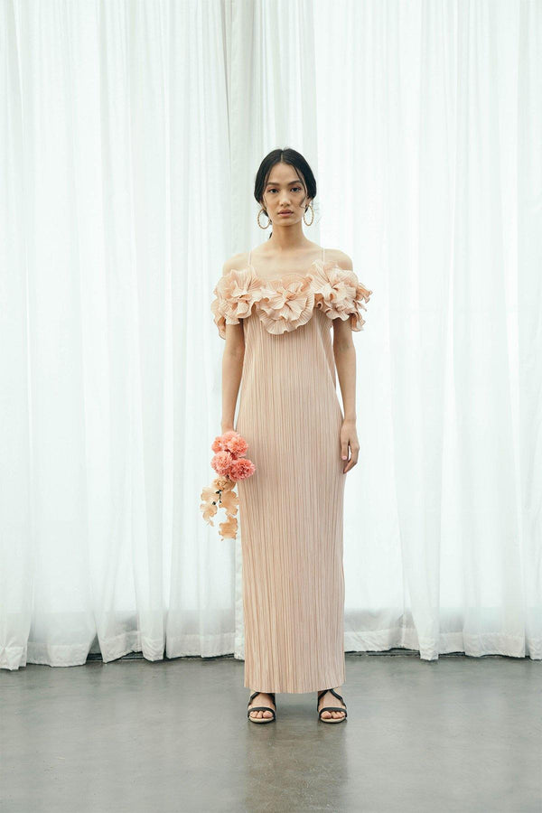 PINK PLEATED FLOWER GOWN