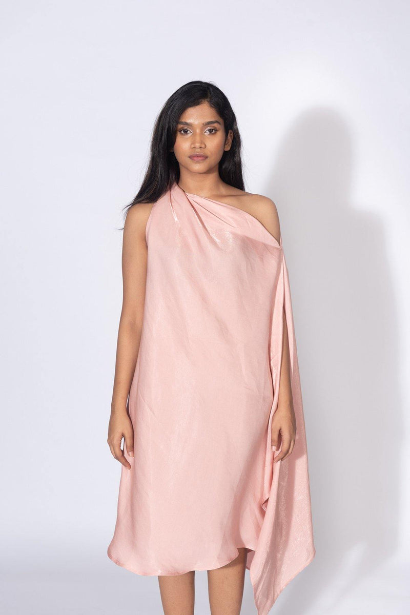 Anya One Shoulder Pink Dress