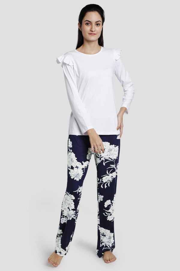 Solid White Ruffle Tee With Blue Floral Print Pyjama