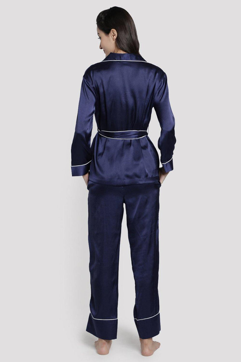Blue Satin Lapel Collar Co-ord Set