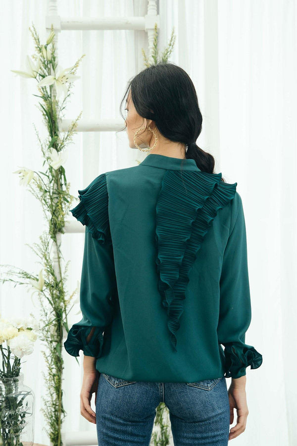 Green Pleated Shirt