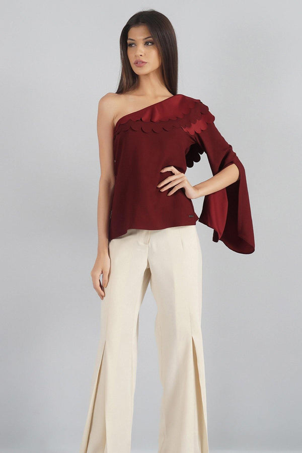 Scallop One Shoulder Top