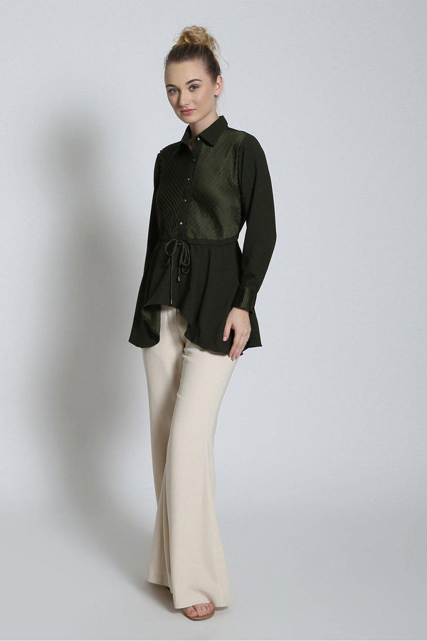 Olive Pleat Peplum Top