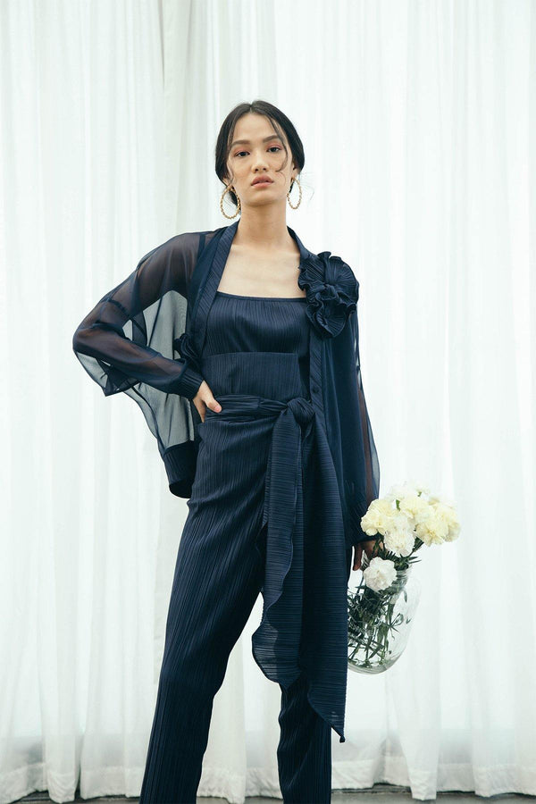 BLUE PLEATED PANTS SET WITH COVER UP