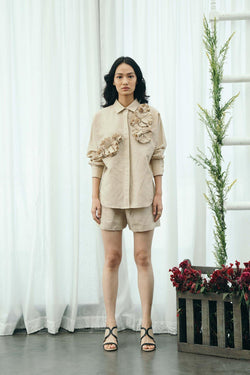 Beige Flower Shirt & Shorts Set