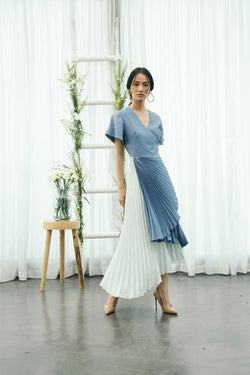 BLUE GREEN PLEATED DRESS