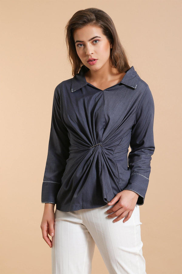 Navy Twist Buckle Top