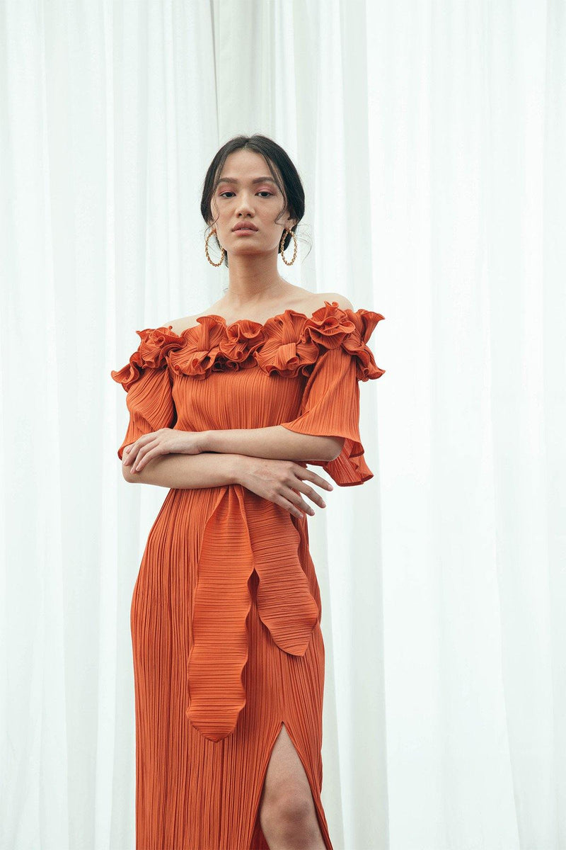 ORANGE PLEATED FLOWER GOWN