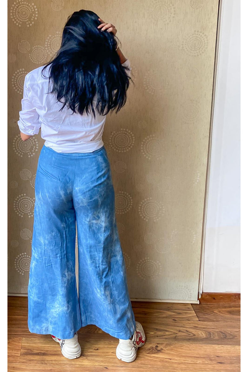 Sky Blue Shaded Denim Flared Pants