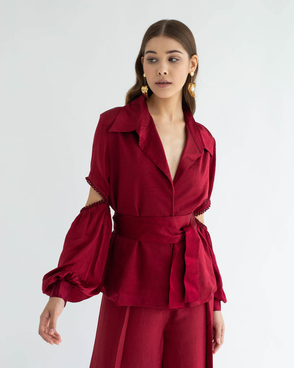 Signature Silk Co-ord Cranberry