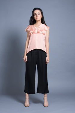Pink Ruffled Neck Top