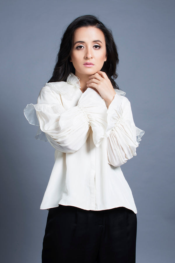 Pleated Collar Silk Shirt