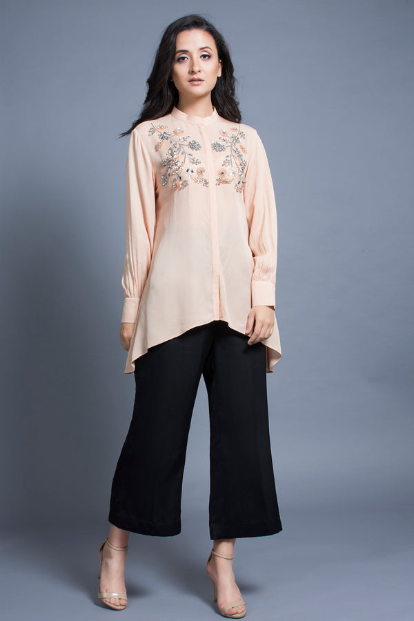 Peach Embroidered Shirt