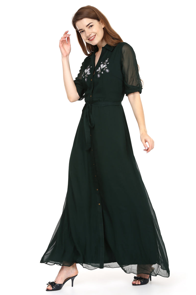 Emerald Shirt Dress