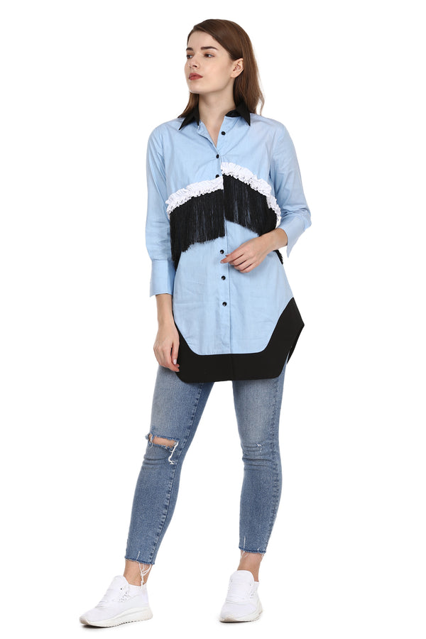 Blue Shirt With Black Fringes