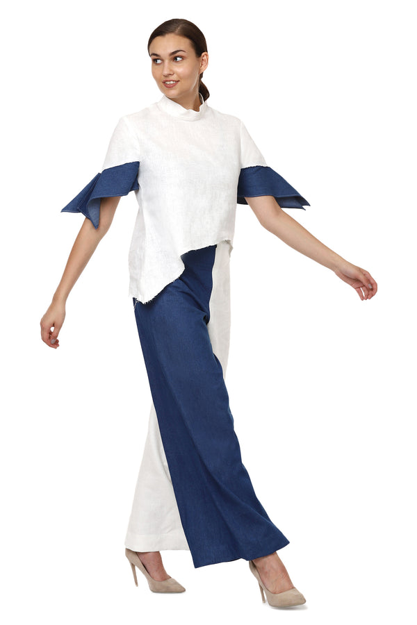 White Linen Denim Sleeves Top