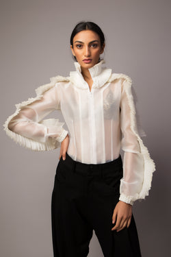 Ruffle On Ruffle White Shirt