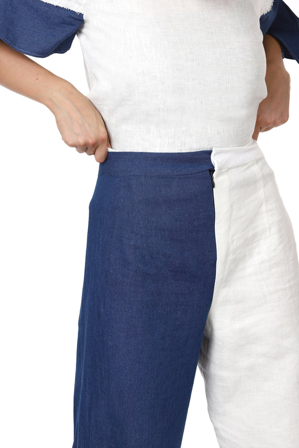 White Linen Denim Flared Pants