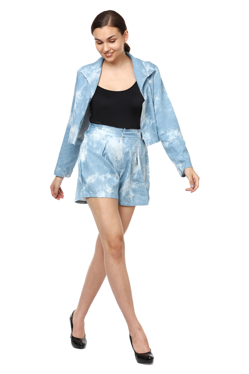 Sky Blue Shaded Denim Shorts