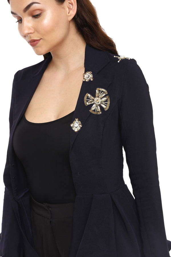 Navy Blue Embellished Blazer