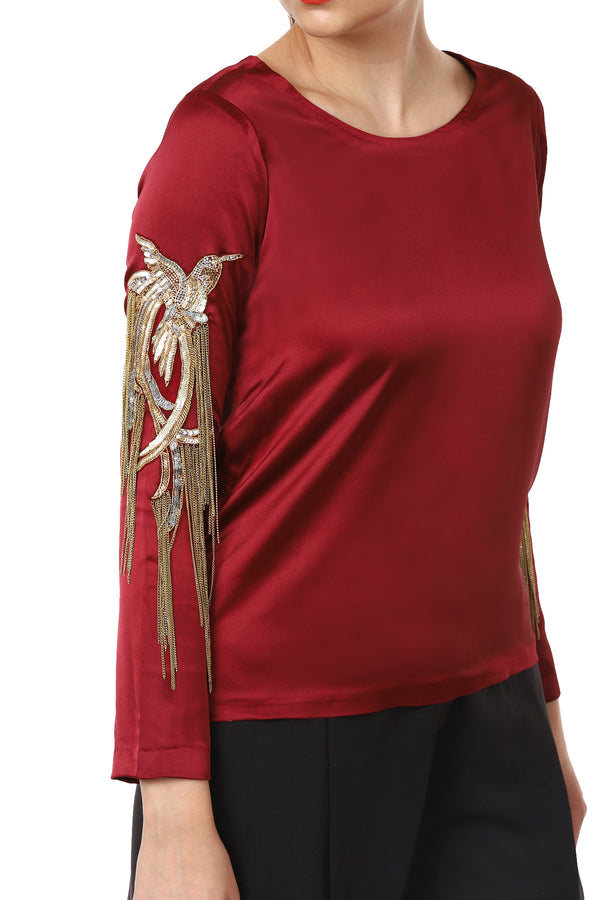 Deep Red Embellished Sleeves Top