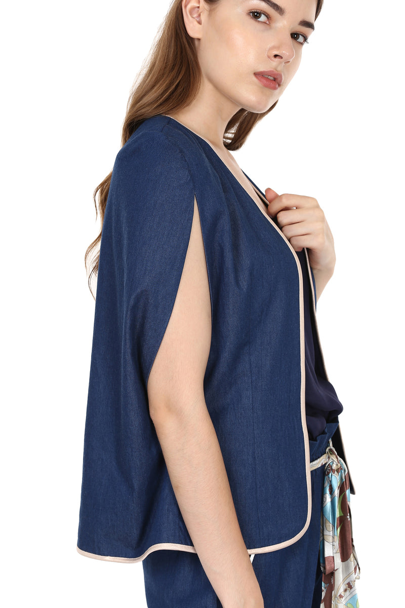 Denim Cape Jacket