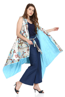 Blue Printed Dual Cape