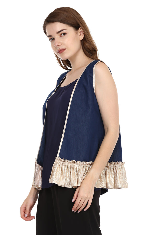 Short Denim Jacket With Frill