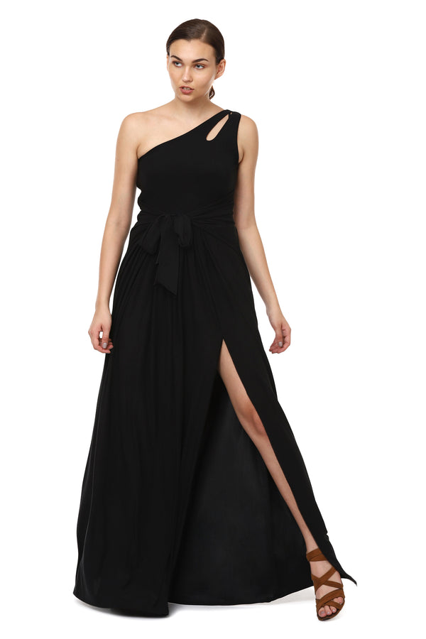 One Shoulder Black Gown