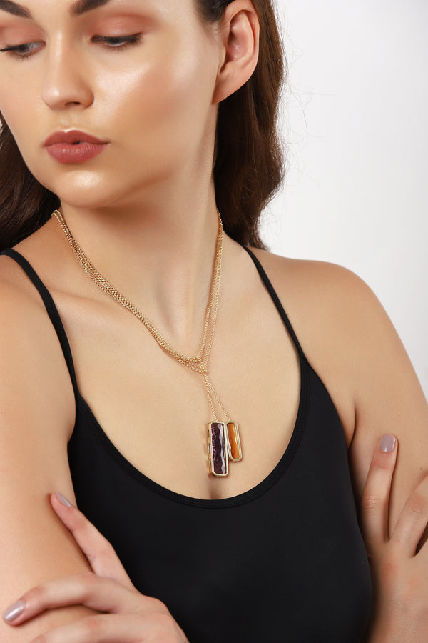 Citrine And Amethyst Drape Necklace