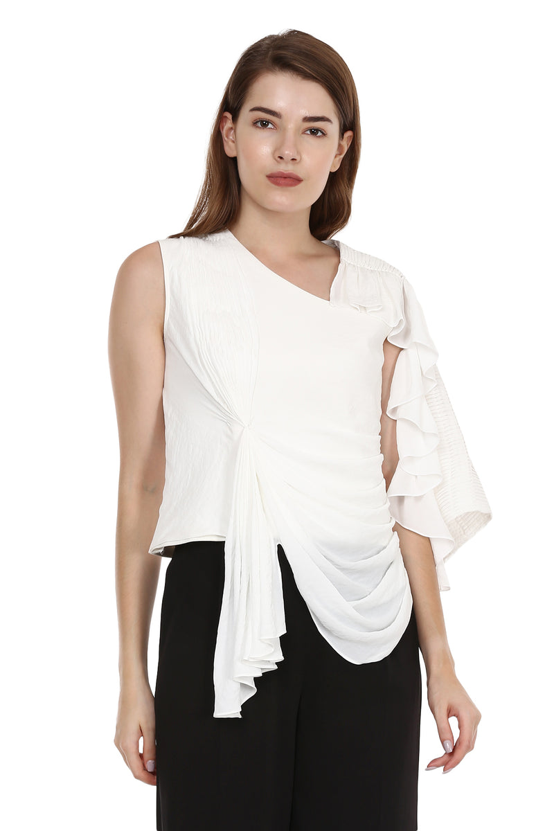 White Gathered Top