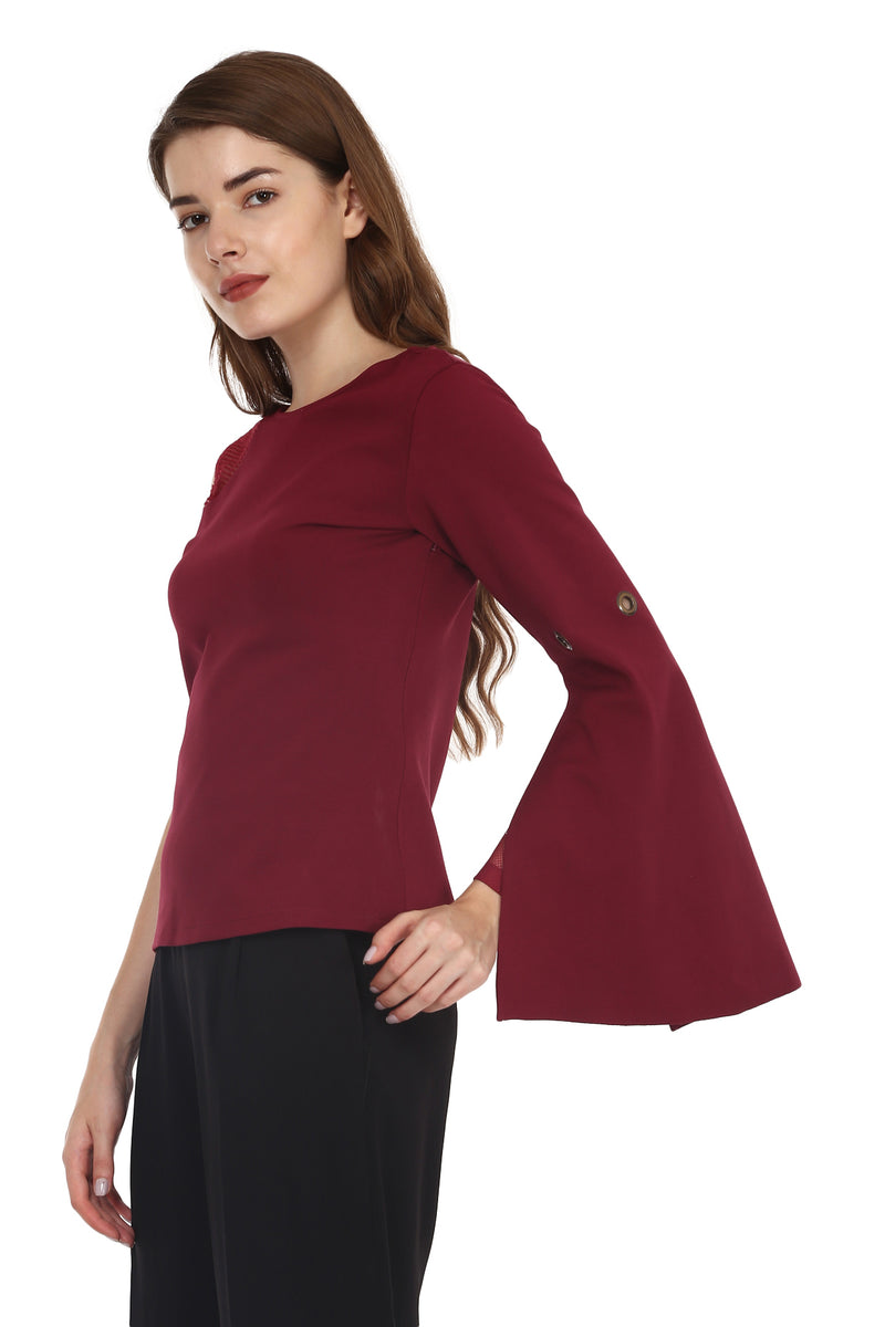 Red Mesh Sleeve Top