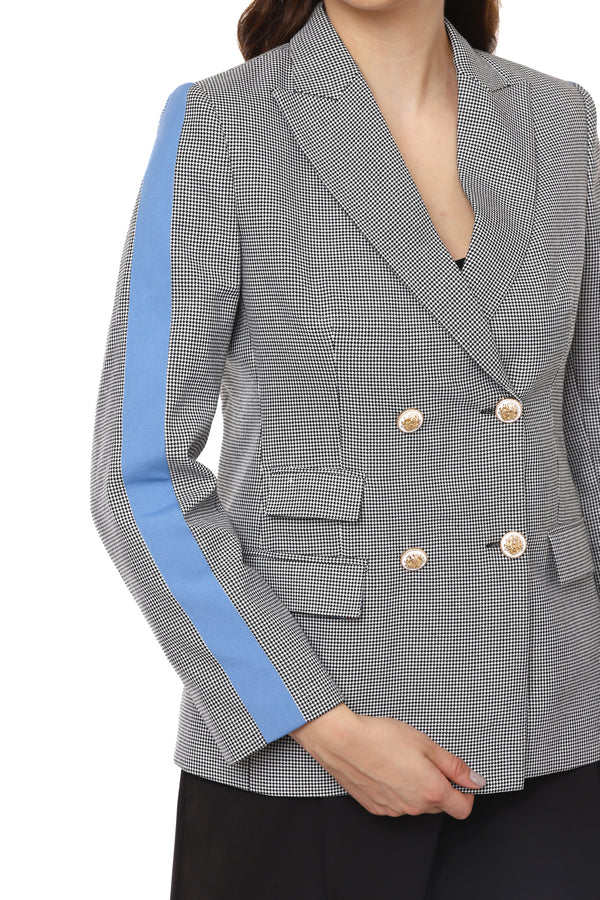 Grey Blazer With Blue Stripes