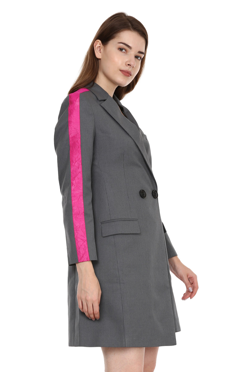 Grey Suit Dress With Pink Stripe