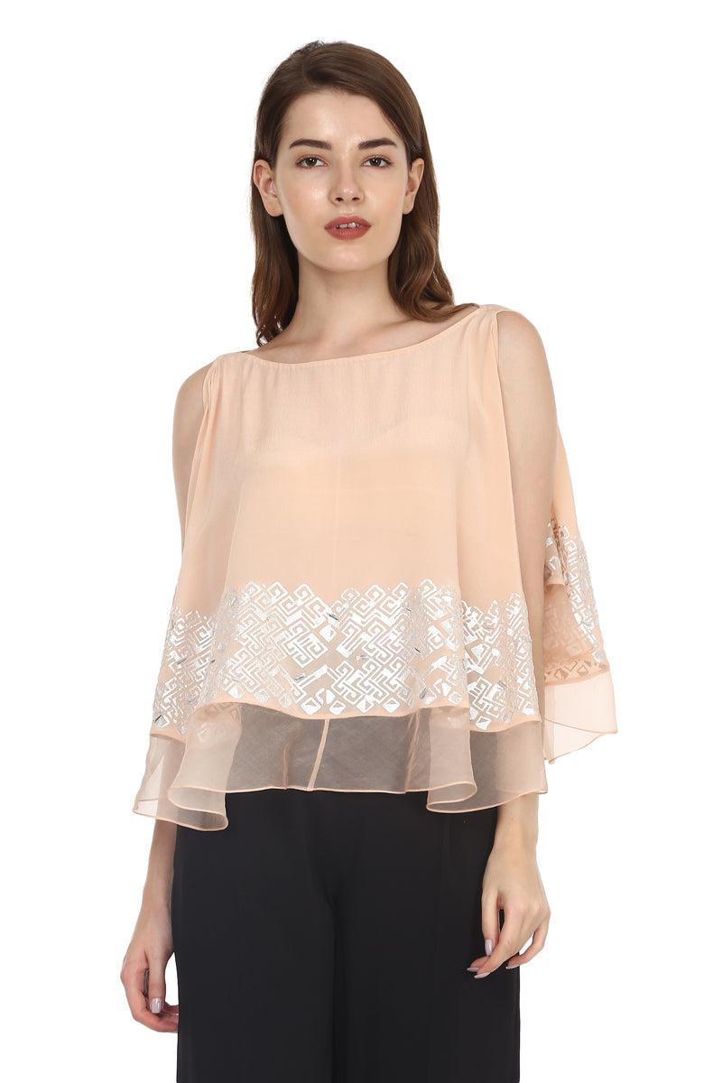 Peach Top With Silver Detailing