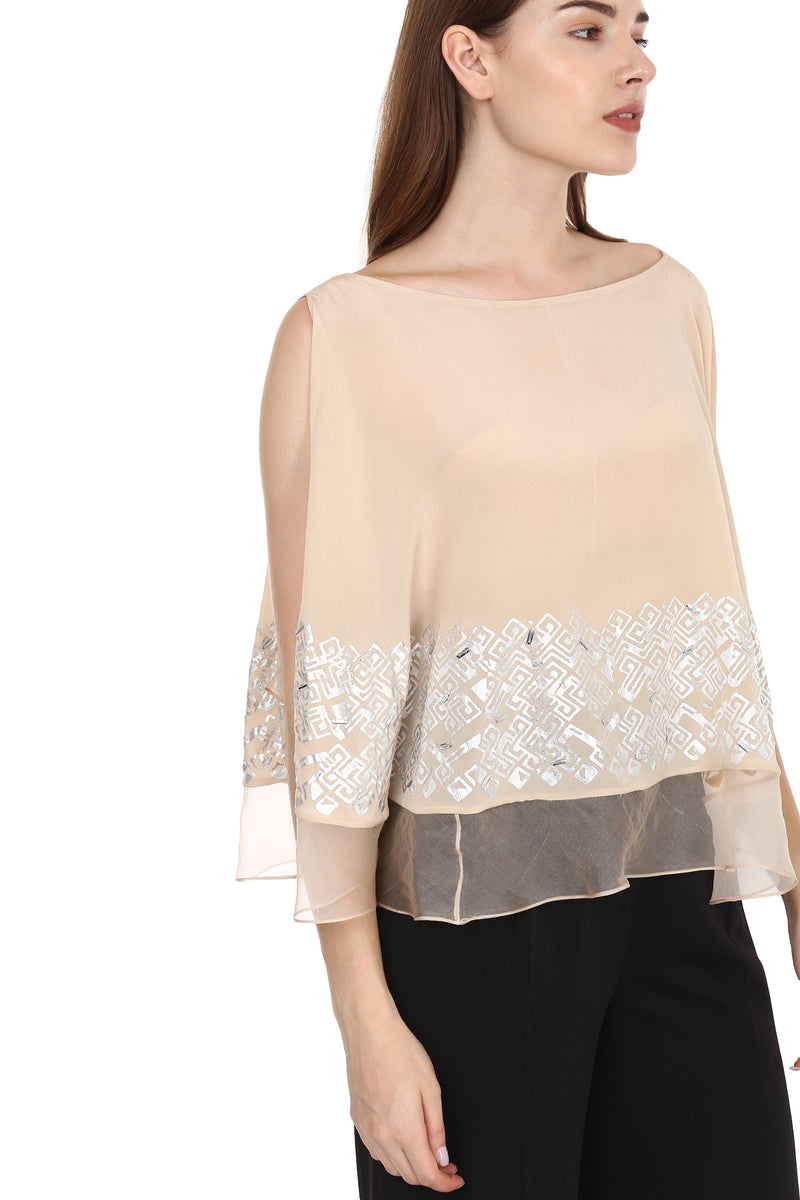 Nude Top With Silver Detailing