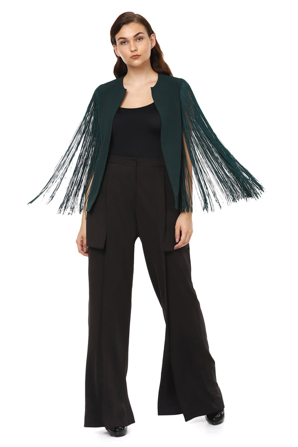 Green Fringe Sleeves Cape