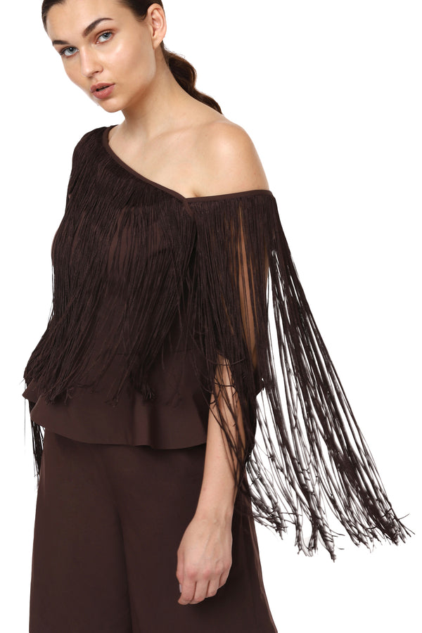Off Shoulder Fringe Jumpsuit