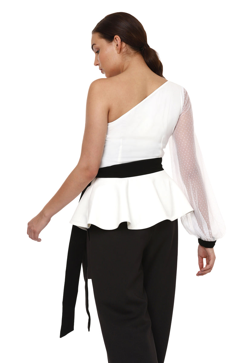 One Shoulder Peplum Top