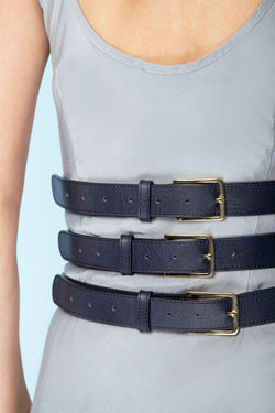 Unforgettable:Waist enclosed body belt - Navy Blue