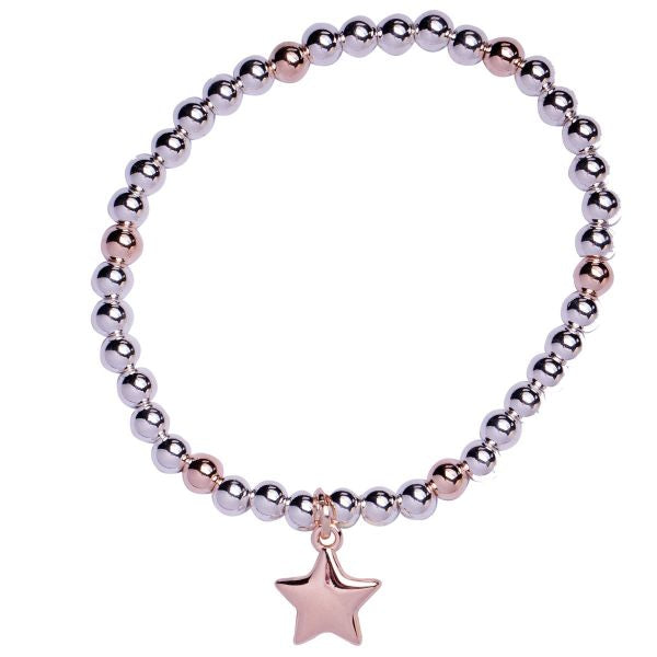 Rose gold and silver star bracelet