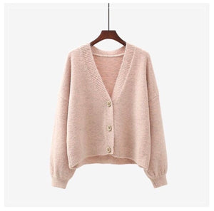 V neck cardigan soft pink