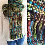 Green mix chunky knit scarf