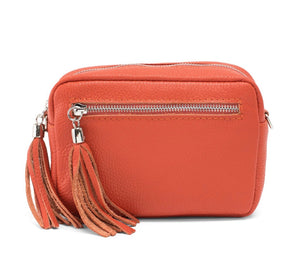 Orange Leather cross body bag
